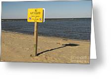 No Lifeguard Sign At Sandy Point Greeting Card