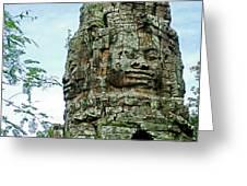 North Gate Of Angkor Thom In Angkor Wat Archeological Park-cambodia Greeting Card