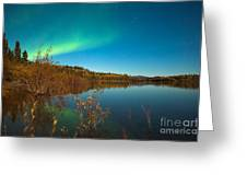 Northern Lights And Fall Colors At Calm Lake Greeting Card