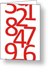 Numbers In Red And White Greeting Card