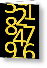 Numbers In Yellow And Black Greeting Card