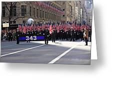 Nyc Fire Department Honoring The 343 Lost Comrades Of 911 With 343 American Flags Greeting Card