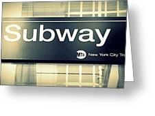 Nyc Subway Sign Greeting Card