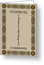 O'carroll Written In Ogham Greeting Card