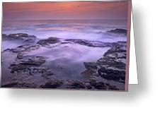 Ocean And Lava Rocks At Sunset Puuhonua Greeting Card