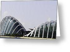 Oil Painting - Both Of The Conservatories Of The Gardens By The Bay In Singapore Greeting Card