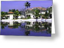 Oil Painting - Cottages And Lagoon Water In Alleppey Greeting Card