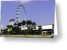 Oil Painting - Preparation Of Formula One Race With Singapore Flyer And Marina Bay Sands Greeting Card