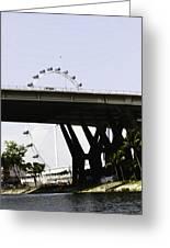 Oil Painting - Span Of The Benjamin Sheares Bridge With Its Pillars In Singapor Greeting Card