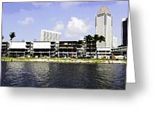 Oil Painting - View Of The Preparation For The Formula One Race In Singapore Greeting Card