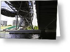 Oil Painting - View Under The Bayfront Bridge And Helix Bridge In Singapore Greeting Card
