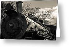 Old Black Locomotive Engine Details Greeting Card