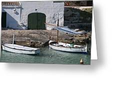 Typical Mediterranean Fishermen Boat And House In Minorca Island - Old Fishermen Villa Greeting Card