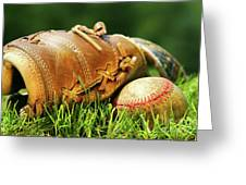 Old Glove And Baseball Greeting Card