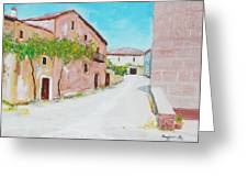 Old Houses Near The Old Church Greeting Card