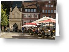 Old Market Square Stralsund Germany Greeting Card by David Davies