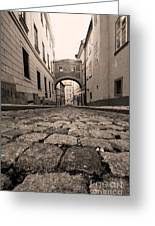 Old Street In Prague Greeting Card