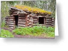 Old Traditional Log Cabin Rotting In Yukon Taiga Greeting Card