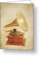 Old Vintage Gold Gramophone Photo. Classical Sound Greeting Card