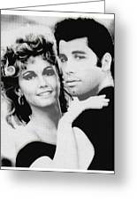 Olivia Newton John And John Travolta In Grease Collage Greeting Card