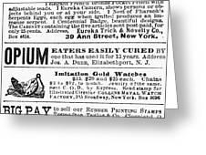 Opium Habit Cure, 1876 Greeting Card