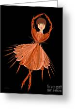 1 Orange Ballerina Greeting Card