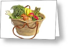 Organic Fruit And Vegetables In Shopping Bag Greeting Card