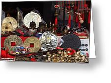 Outdoor Shop Sells Fake Chinese Antiques Greeting Card by Yali Shi