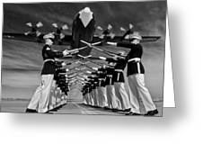 Over The Marine Corps Silent Drill Platoon Greeting Card