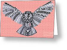 Owl In Flight Pink Greeting Card