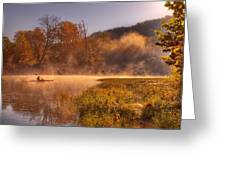Paddling In Mist Greeting Card