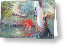 Paddling In The Creek Greeting Card