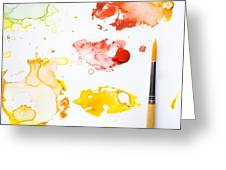 Paint Splatters And Paint Brush Greeting Card