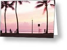 Palm Trees On The Beach, Waikiki Greeting Card