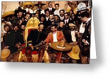 Pancho Villa In Presidential Chair And Emiliano Zapata Palacio Nacional Mexico City December 6 1914 Greeting Card