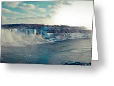 Panorama - Niagara Falls In Winter Greeting Card