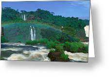 Panoramic View Of Iguazu Waterfalls Greeting Card