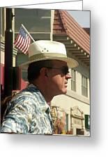 Parade Watcher Flag In Hat July 4th Prescott Arizona 2002 Greeting Card