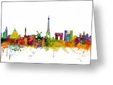 Paris France Skyline Greeting Card
