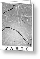 Paris Street Map - Paris France Road Map Art On Colored Backgrou Greeting Card