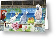 Parrots In Paradise Greeting Card