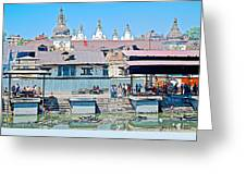 Pasupatinath Temple Of Cremation Complex In Kathmandu-nepal- Greeting Card