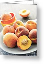 Peaches On Plate Greeting Card