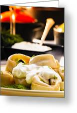 Pelmeni Dumplings With Fennel And Smetana Sour Cream Greeting Card