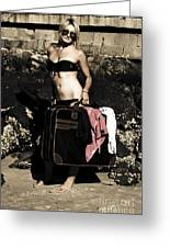 Person On A Vintage Vacation Greeting Card