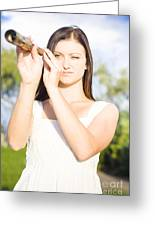 Person With Monocular Greeting Card