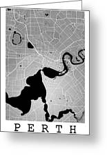 Perth Street Map - Perth Australia Road Map Art On Colored Backg Greeting Card