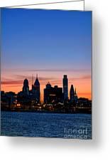 Philadelphia Dusk Greeting Card by Olivier Le Queinec