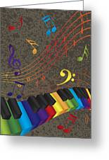 Piano Wavy Border With 3d Colorful Keys And Music Note Greeting Card