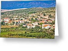 Picturesque Mediterranean Island Village Of Kolan Greeting Card